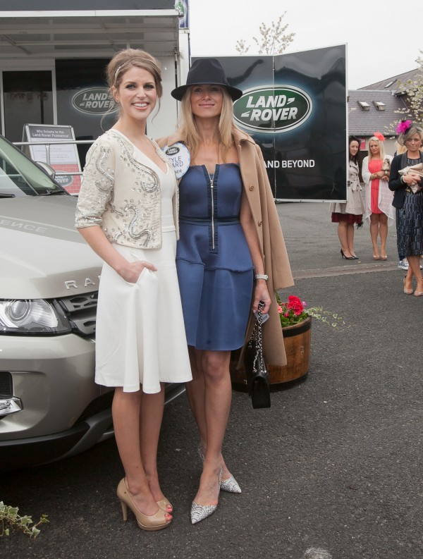 Amy Huberman wearing a Reiss dress & Style Award winner Emer Flanagan in a dress & coat from Brown Thomas, hat from Punchestown