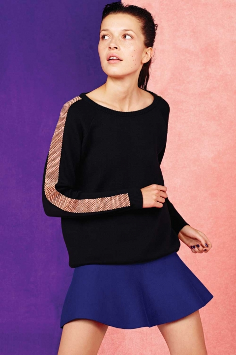 Penneys Embellished Sleeve Sweatshirt €22.50 & Blue Knitted Flare Skirt €12.50