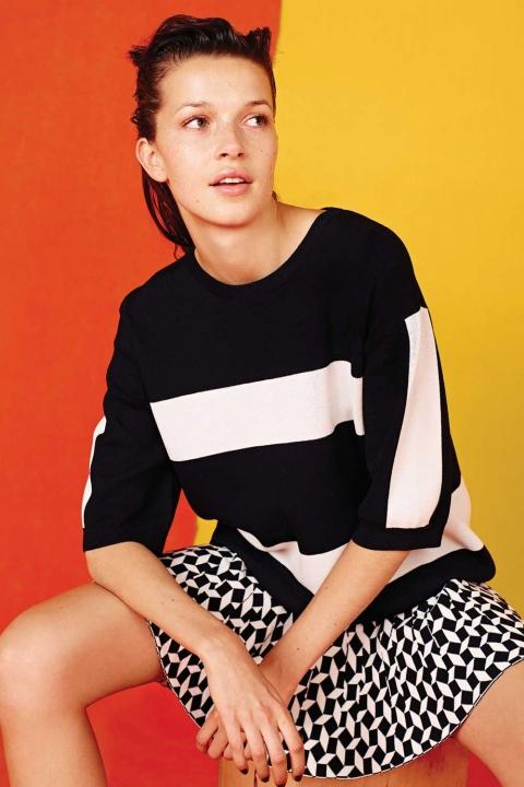 Penneys Colourblock Jumper €15.00 & Knitted Checkered Skirt €12.50