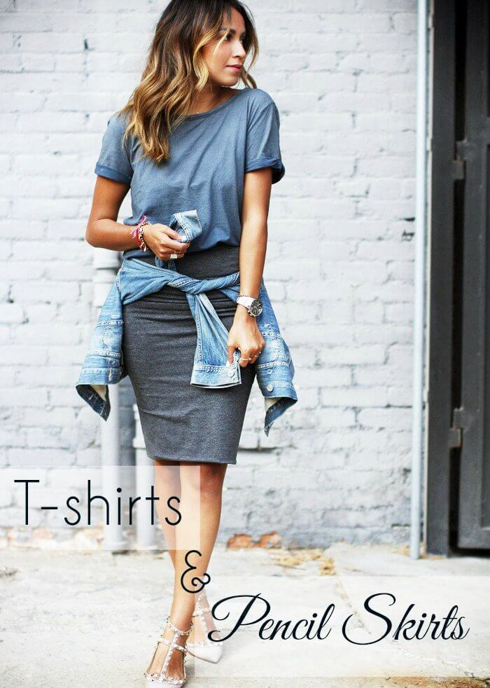 T-shirts & Pencil Skirts, How to style pencil skirts | pencil skirt styling | Pink Elephant Blog