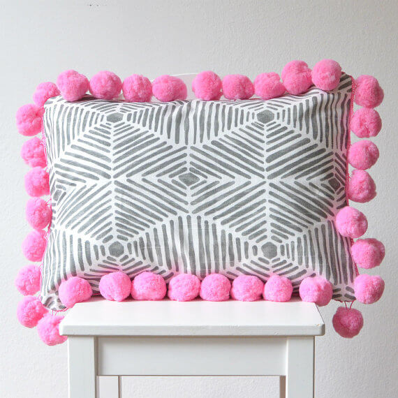 Pink elephant pom pom cushion (2)