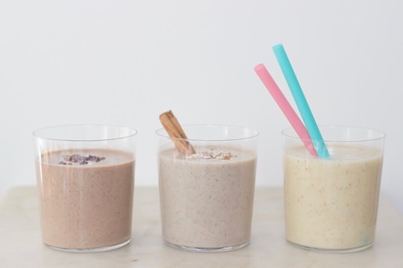 three healthy dessert smoothies apple pie, chocolate peanut butter smoothie, pina colada smoothie
