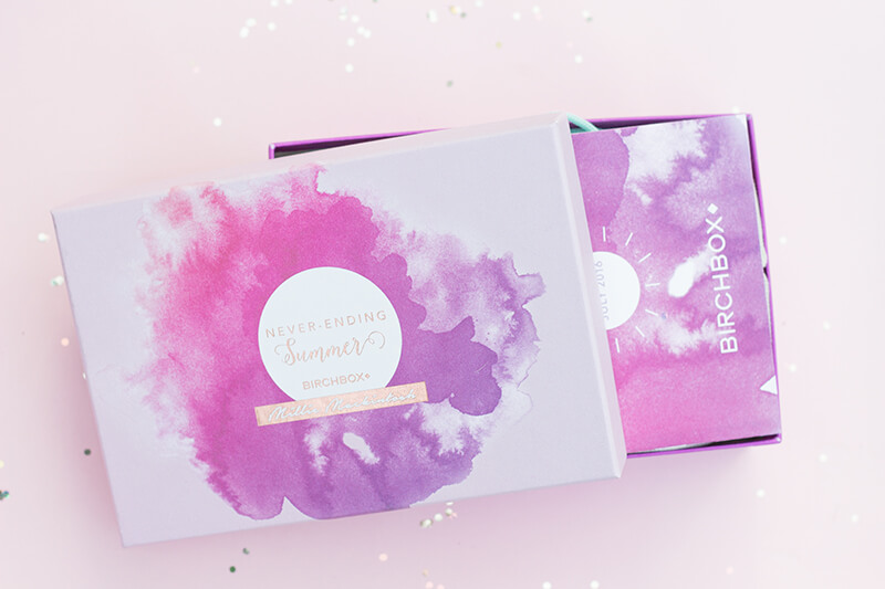 pink and purple July Birchbox by Millie Mackintosh