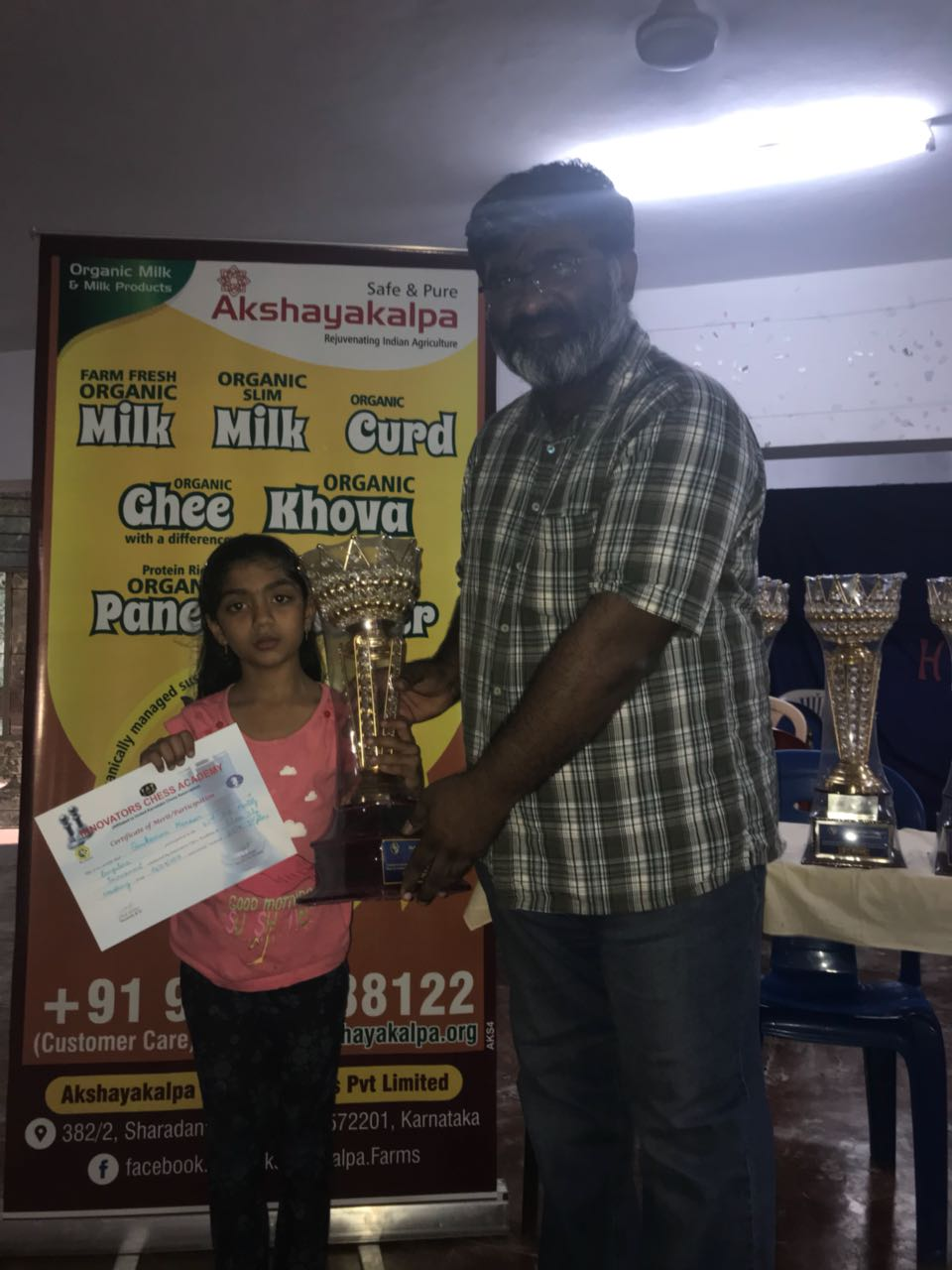 Manasvi secures 1st place in the 42nd ICA Monthly Chess Tournament Girls Category U9 Category
