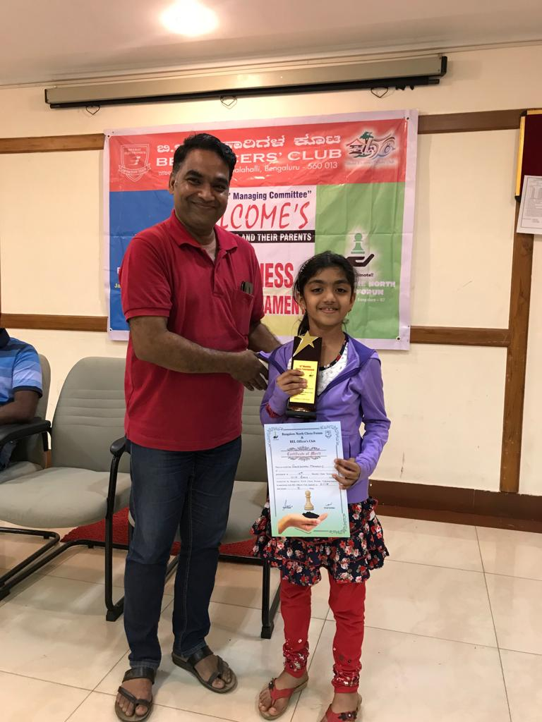 Manasvi Secures 1st Place in the Girls Category of the 15th BNCF Monthly Chess Tournament - U10 Category