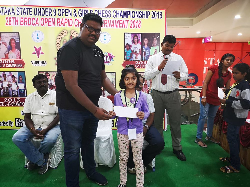 Sanikommu Manasvi places 6th in U9 Category - Girls of the Karnataka State U9 Girls Chess Championship
