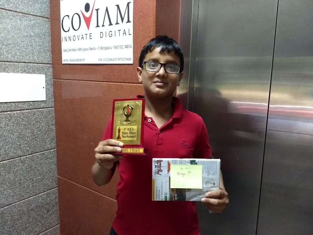Sankha Ghosh secures 1st place in the 3rd ICA Junior Chess tournament U12 Category