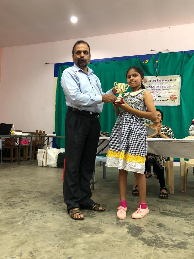 Congratulations to Dhriti Jade for securing 1st Prize in the U10 Girls Category of the Rainbow Kidz Chess Tournament held in Bangalore