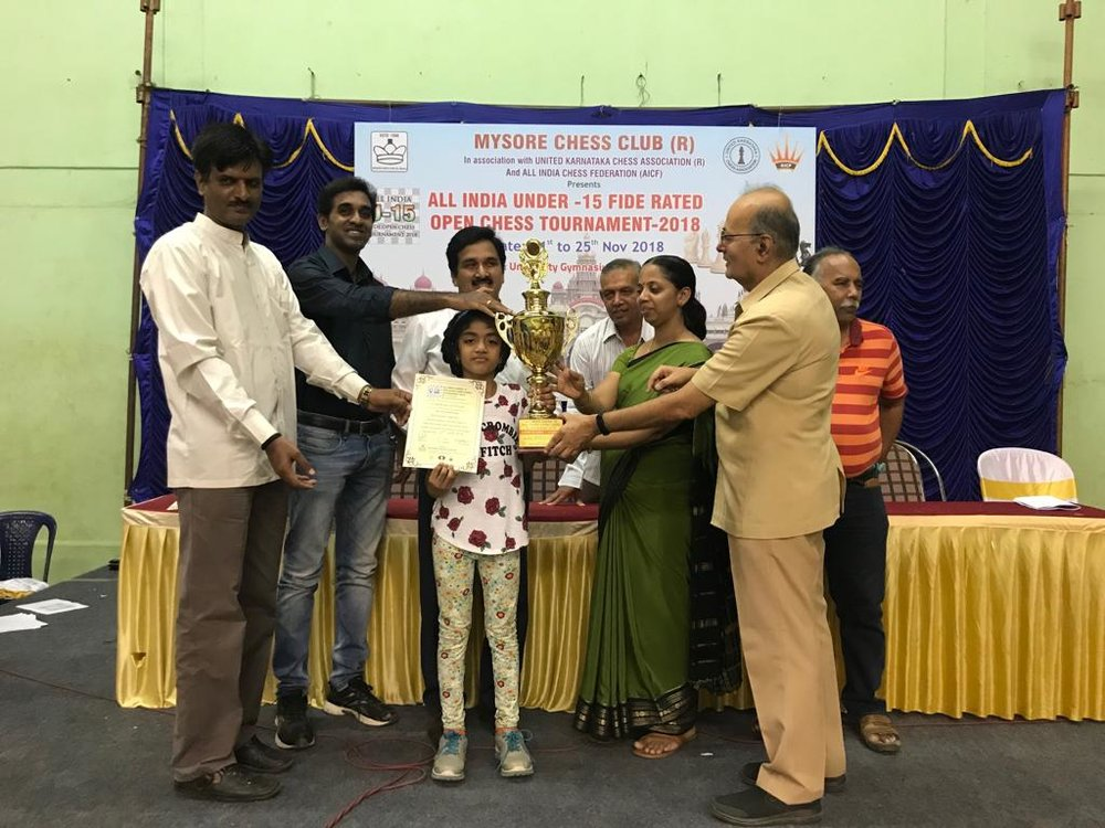Manasvi Secures 1st place in U9 Category of the All India FIDE Rated (U15) Rated Tournament in Mysore