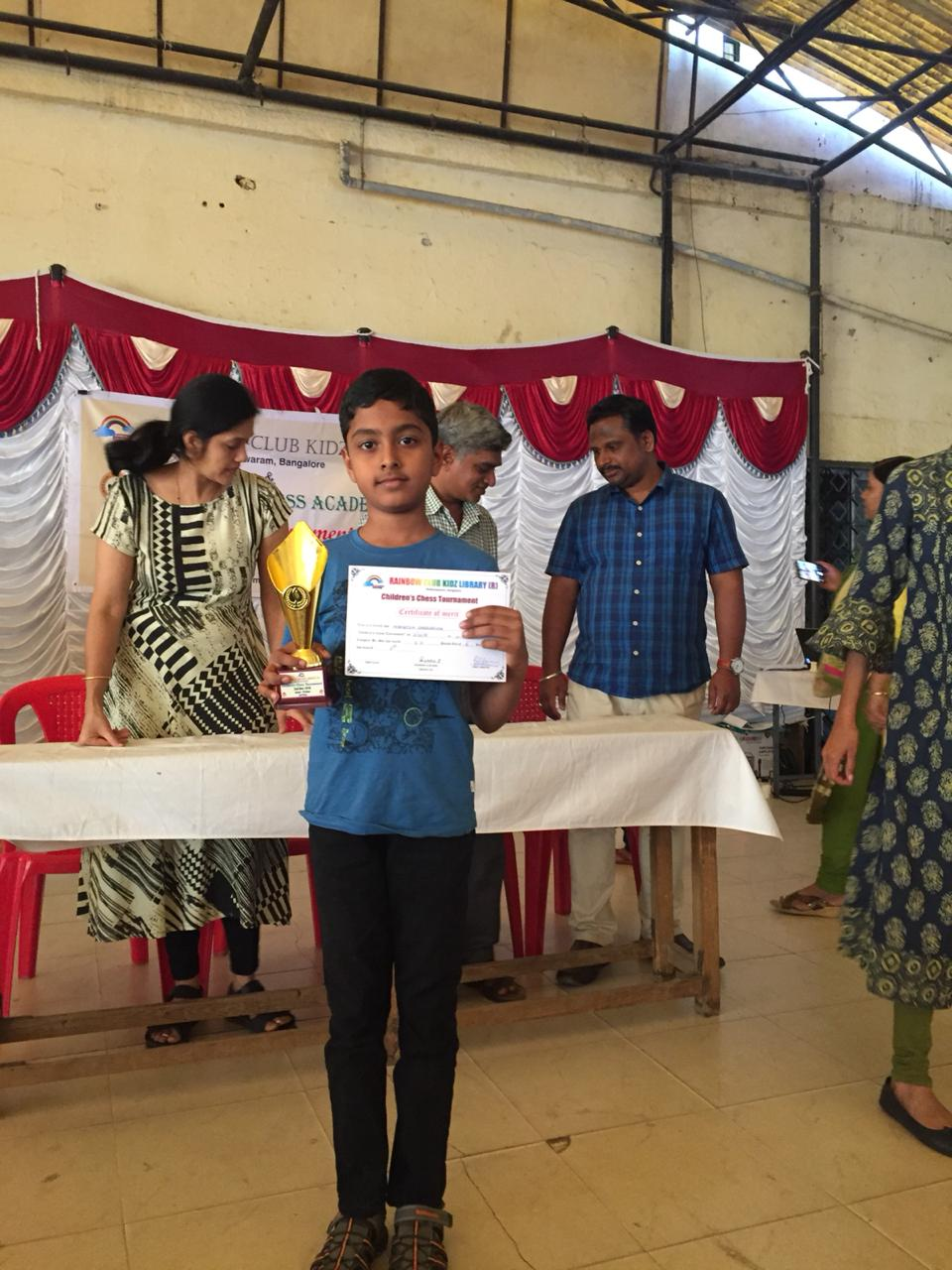 Congratulations to Mohnish for securing 1st place in the U10 Category of the Rainbow kidz Chess Tournament 2018 held on Dec 2nd, 2018