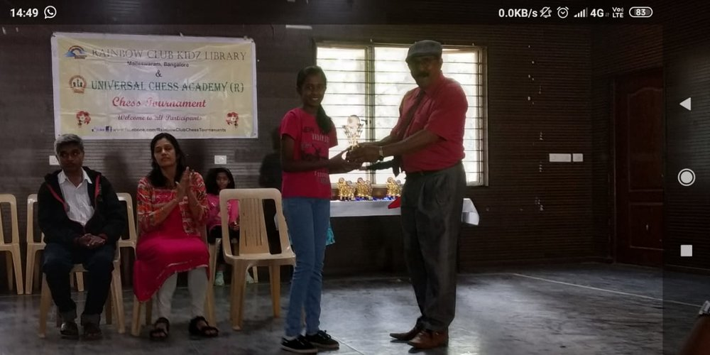 Congratulations to Chandana for securing overall 1st Prize in the U10 Category of the 41st Edition Children's Chess Tournament - Jan 2019