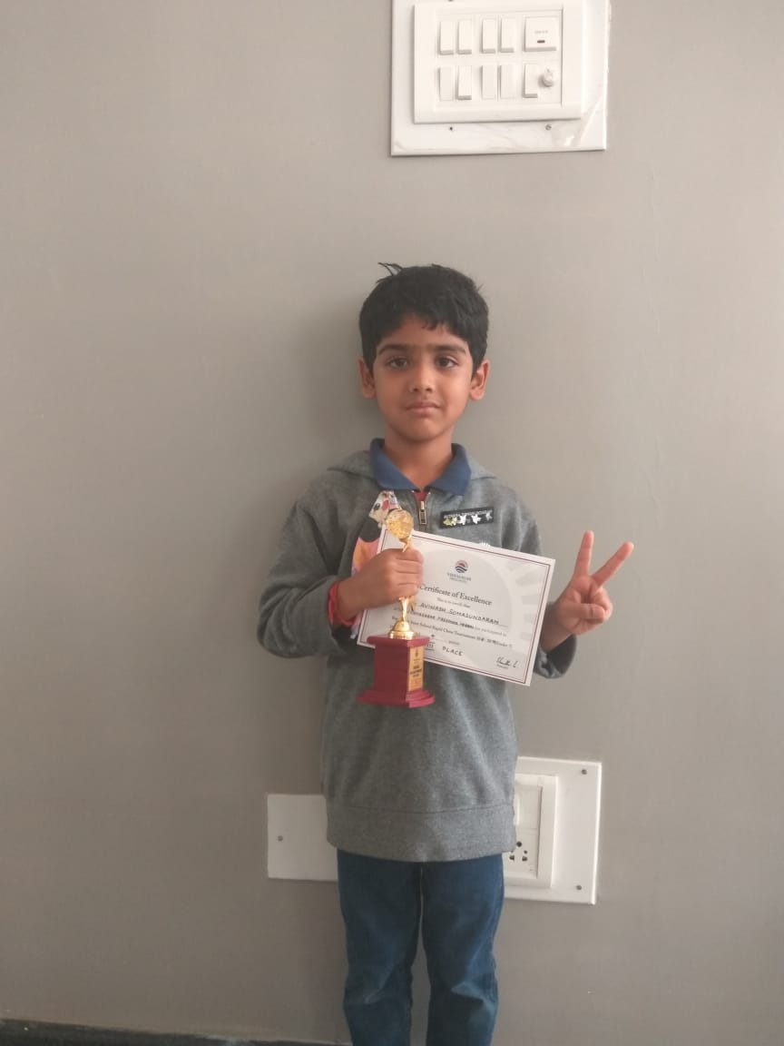 Congratulations to Avinash for securing 3rd place in the Interschool Chess Competition 2019 held in Bangalore