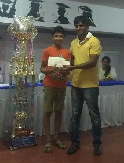 Congratulations to Srihari for securing 40th Position in the Bangalore Open FIDE Classical Chess Tournament and placing 1st in his rating category winning Cash Prize of 15k.
