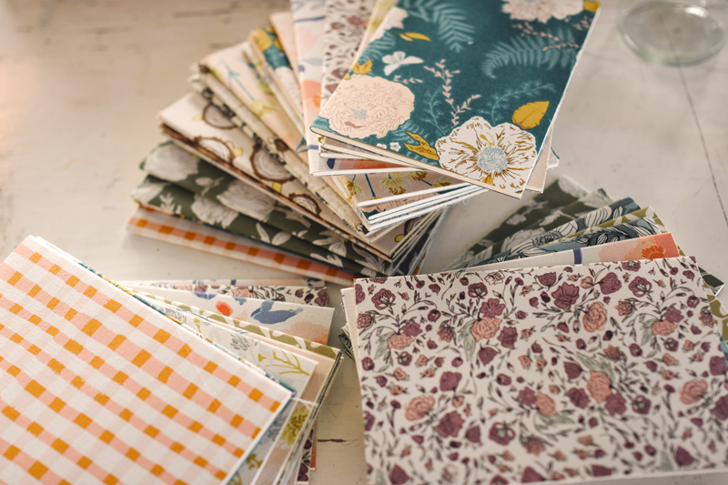 Bonnie's fabrics covering notebooks given to students at our post-class retreat.