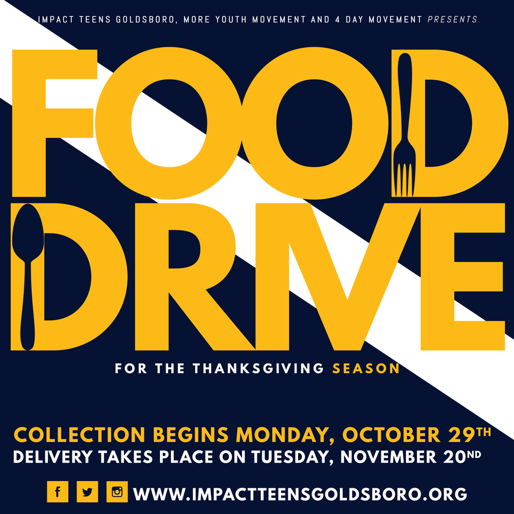 Thanksgiving Food Drive - Our 3rd annual community food drive has begun and this year it's going to be bigger than ever! We are partnered with MORE Youth Movement and 4 Day Movement to make a bigger impact in our community! DONATE TODAY!