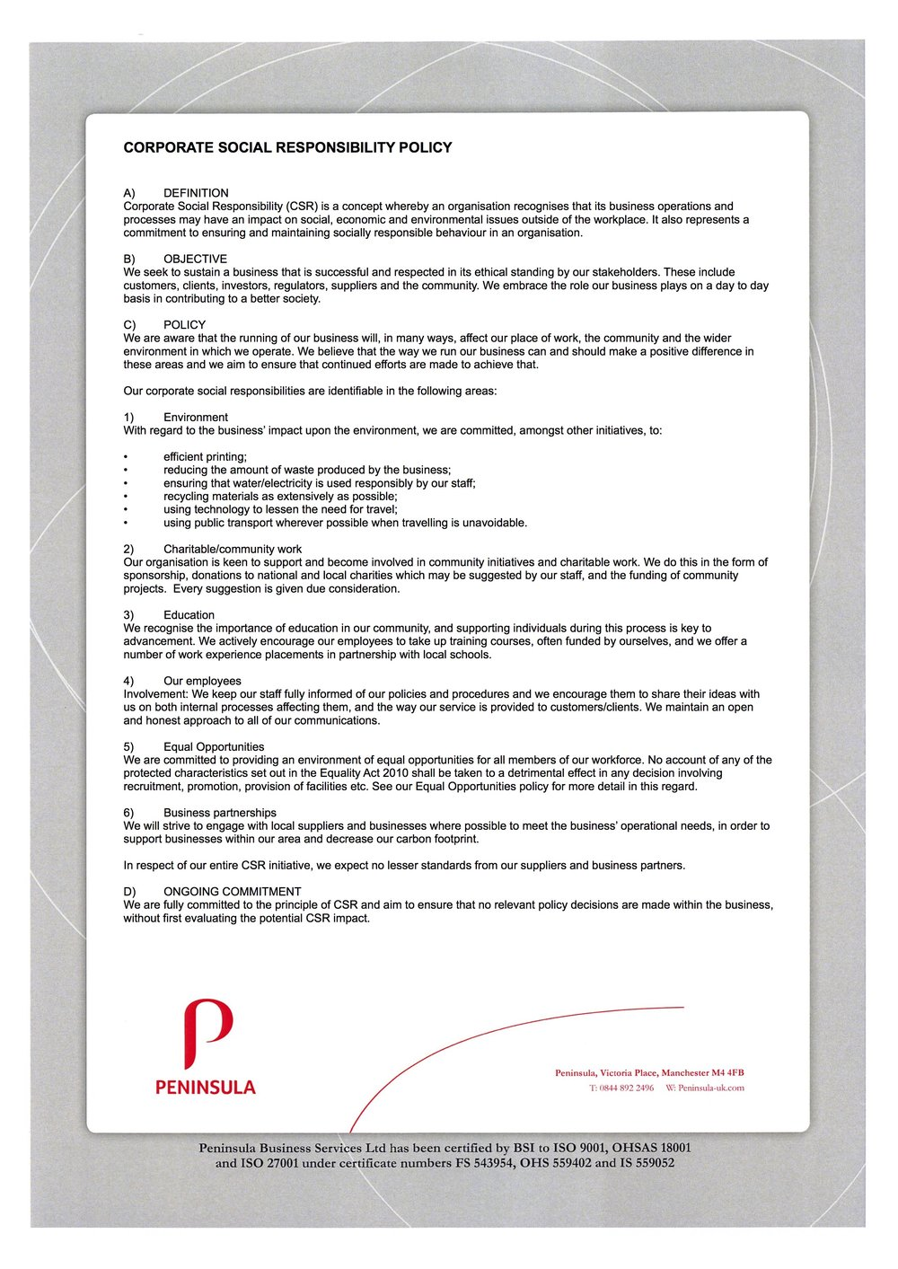 Nice Corporate Responsibility Policy Template Pictures Inspiration ...