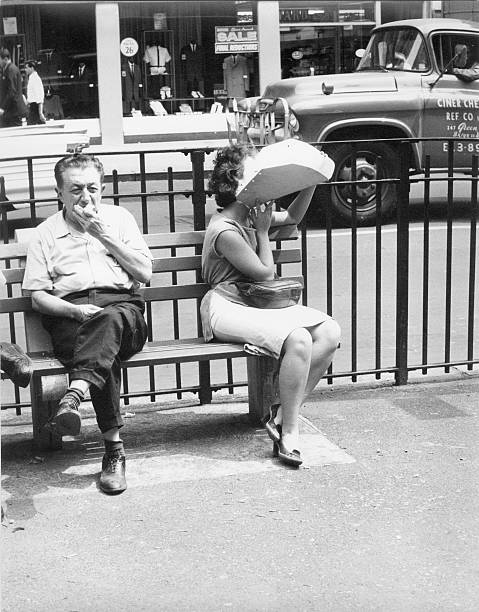 """A man eats on a bench"" : New York Historical Society, Getty images"