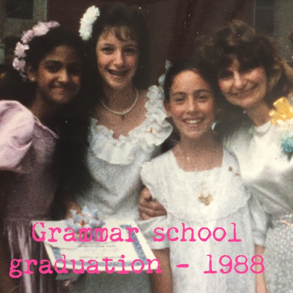 Me, second from right, in 1988, with a favorite teacher, Mrs. Stein, and two best friends who went on to different middle schools.