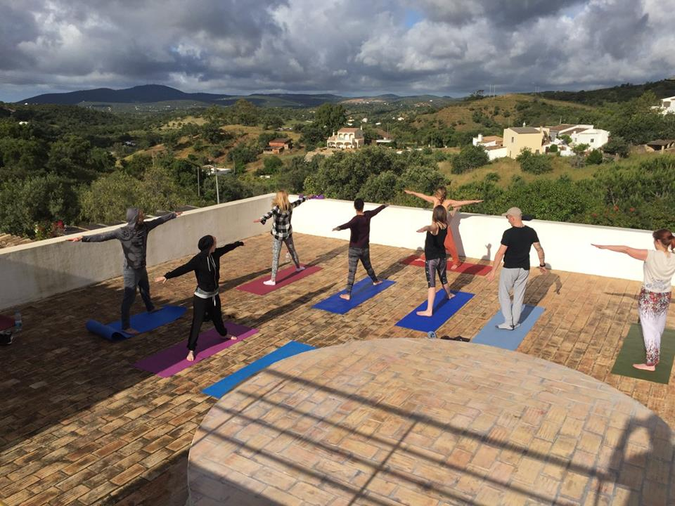 Yoga session at our May 2017 retreat, the Algarve
