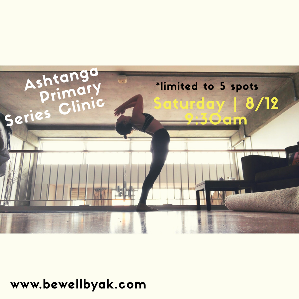 - Join me as we delve into the purification practice of Ashtanga Yoga. In this class I will guide you through the primary series while offering individual adjustments and technique enhancements including breath, posture, inner methods and body mapping. Must Pre-Register