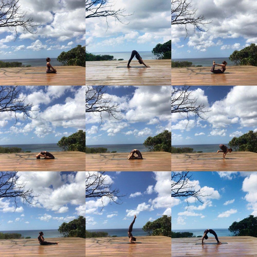 Alana Kessler practicing Ashtanga Yoga in Playa Maderas Nicaragua