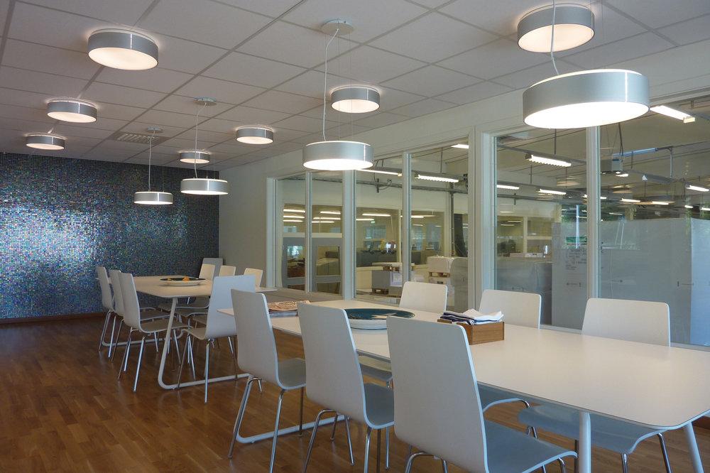 Allright - Fixture: Allright ceiling and Allright pendant.Project: Printfabriken, Karlskrona.