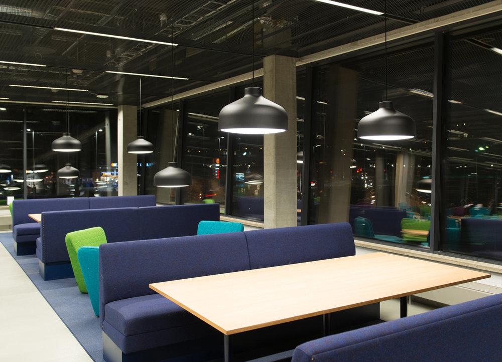 Lens - Fixture: Lens Large.Project: Stockholms Universitet, Studenthuset.Architect: AIX Arkitekter & Stockholms Universitets byggplaneringsavdelning.