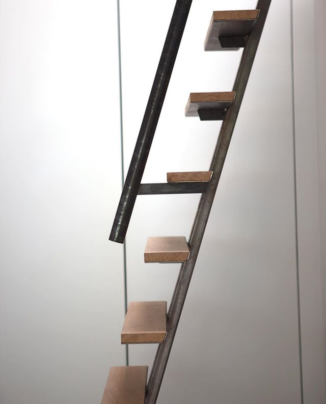 Custom ladder from steel and @dinesen heartoak.