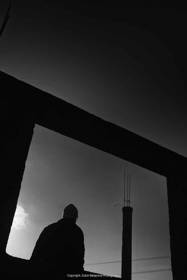 Man and Girder Silhouette Framed 01