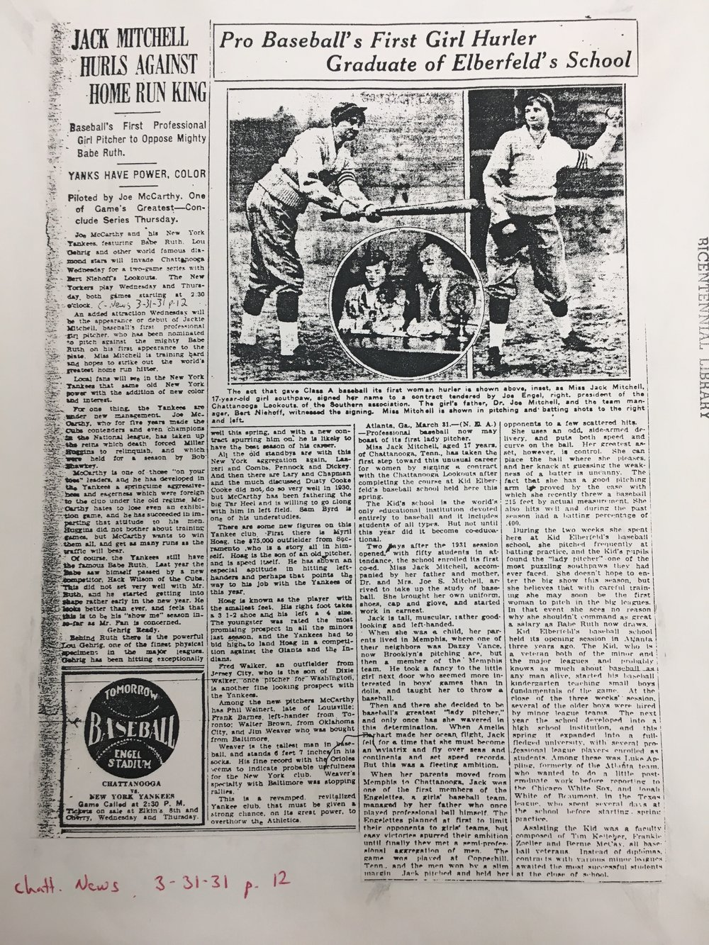 An article in the Chattanooga News builds hype for the exhibition game before Jackie Mitchell took the mound against Yankees. (Chattanooga Public Library archives)