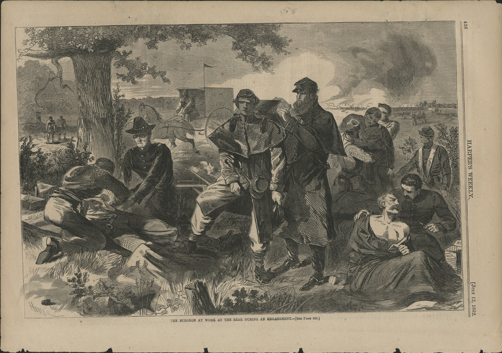 """The Civil War Surgeon at Work in the Field,"" Winslow Homer's image of medical care in the chaos of the battlefield, 12 July 1862 ( National Library of Medicine)"