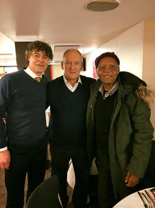 David Bekham's father (middle) meets Kenya's legend Joe Kadenge as he tours Old Trafford.