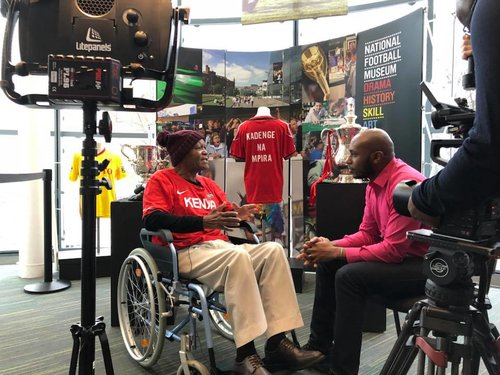 We arranged a  BBC Africa interview with Joe Kadenge at the  National Football Museum in Manchester . Surprised him by putting up the Kadenge Na Mpira jersey in the museum. One of our goals with this is to help Joe, and African players like him, get their proper recognition. This is just one small step...   #KadengeNaMpira