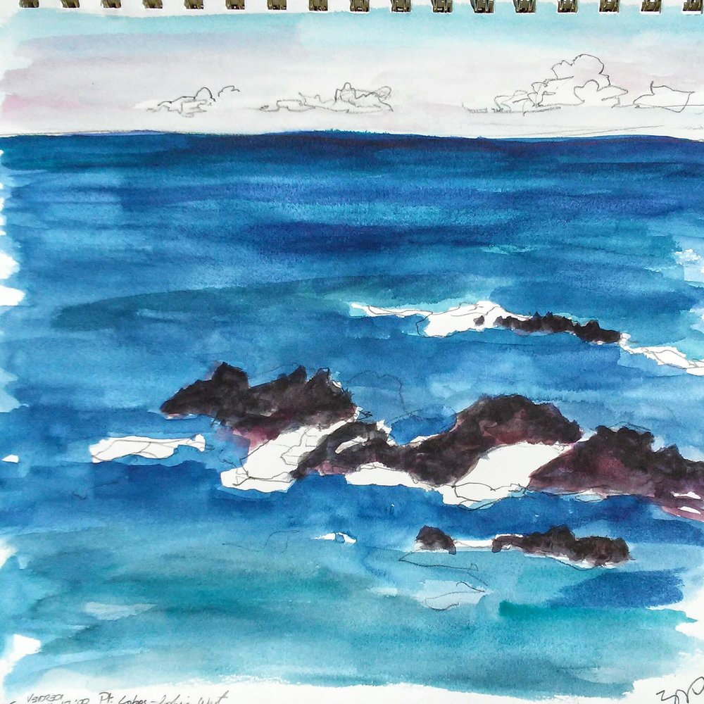 Looking west from Point Lobos State Reserve, Monterey, California. Art by author.
