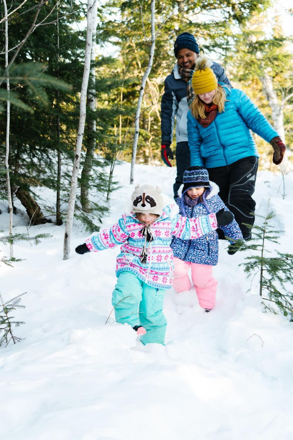 Commercial Family Winter Stock Photos