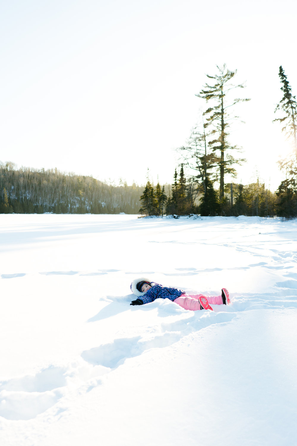 Stock Images of Snow Angels on a Frozen Lake