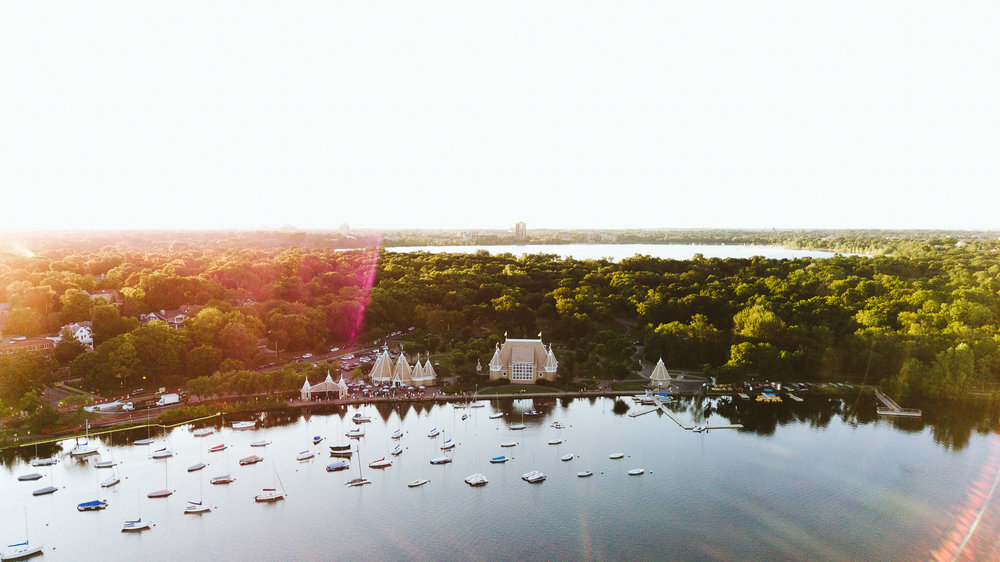 Drone Photography over Lake Harriet in Minneapolis, Minnesota
