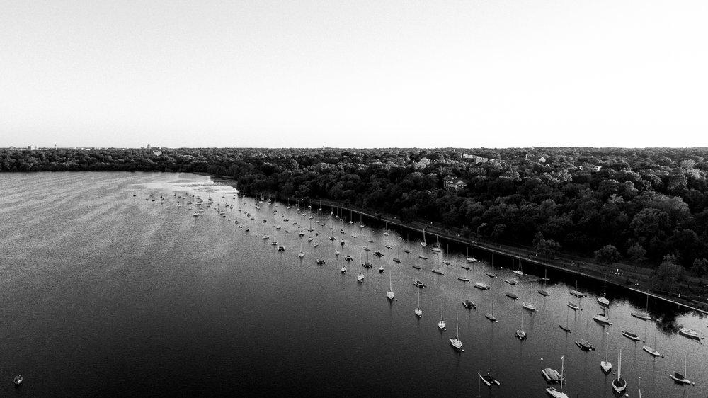 Mavic Pro Drone Photographs over Lake Harriet in Minneapolis, Minnesota