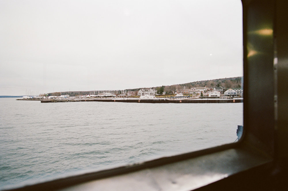 View from the window of a ferry to Madeline Island, Wisconsin