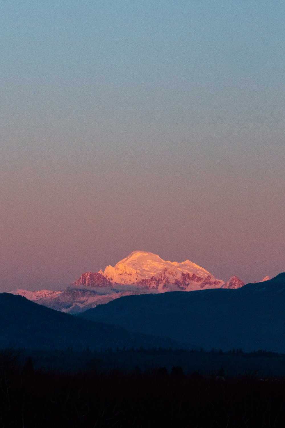 Sunset over Mount Hood in the Northern Cascade Mountain Range of Washington State