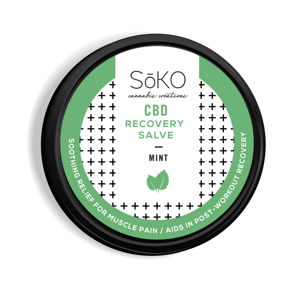 CBD Recovery Salve - 2oz. 150 mg CBD. Treats inflammation, aids in post work out muscle recovery, and pain relief. Soothing relief for Psoriasis and eczema.Contains CBD from organic cherry hemp. Organic coconut oil, organic menthol crystals, EMU oil, bees wax.
