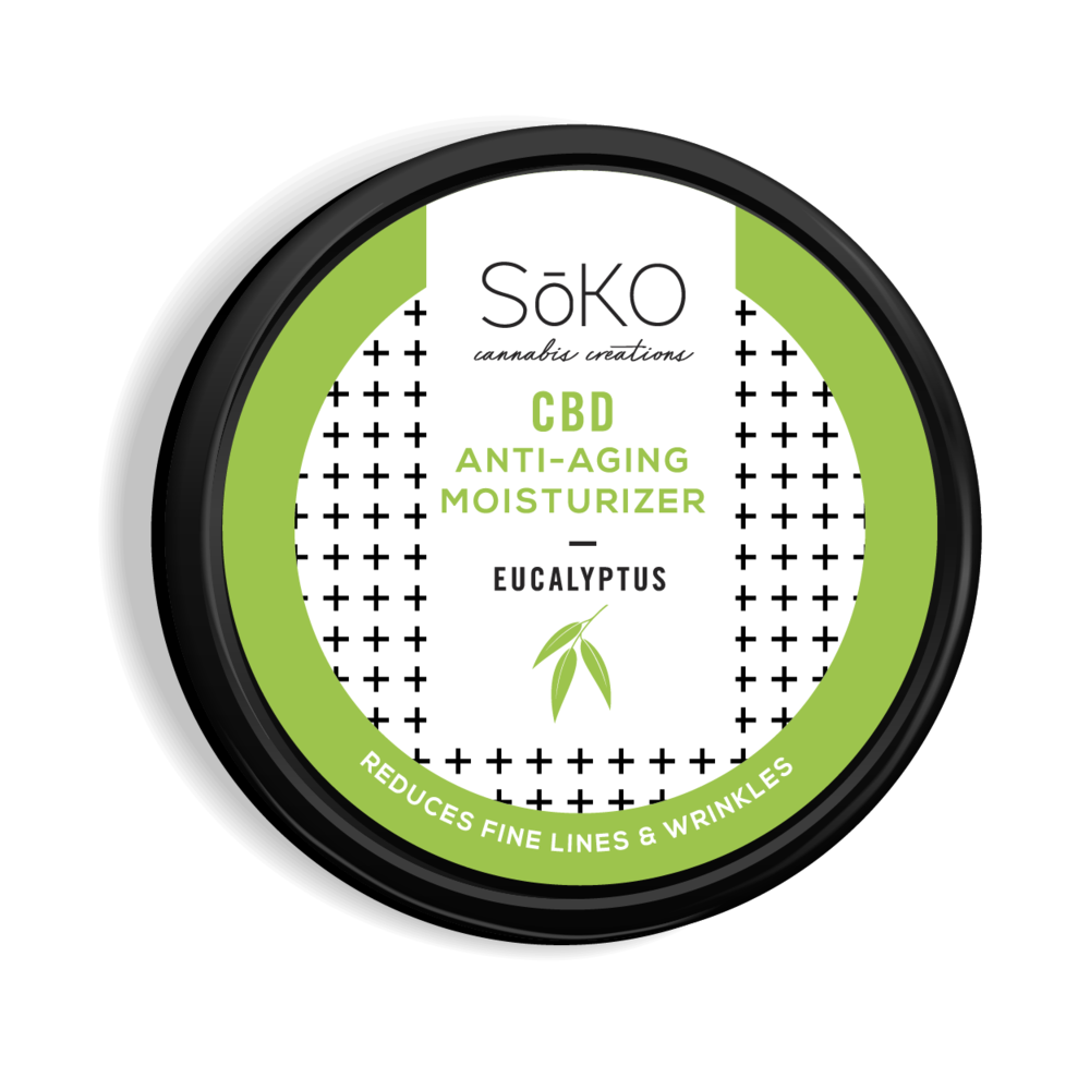 CBD Anti-Aging Moisturizer - 2oz. 150 mg CBD. Reduces fine lines and wrinkles by plumping the collagens in skin. Neutralizes free radicals, anti-inflammatory and tranquilizing. Treats the skin for sunburn and air-toxins.Contains CBD from organic cherry hemp, organic coconut oil, organic eucalyptus, Vitamin E, shea butter.
