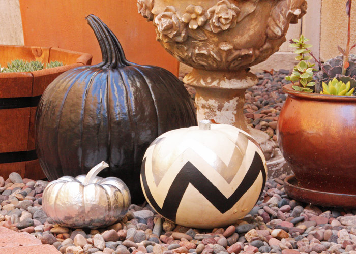 DIY Halloween decor, pumpkin painting, chevron
