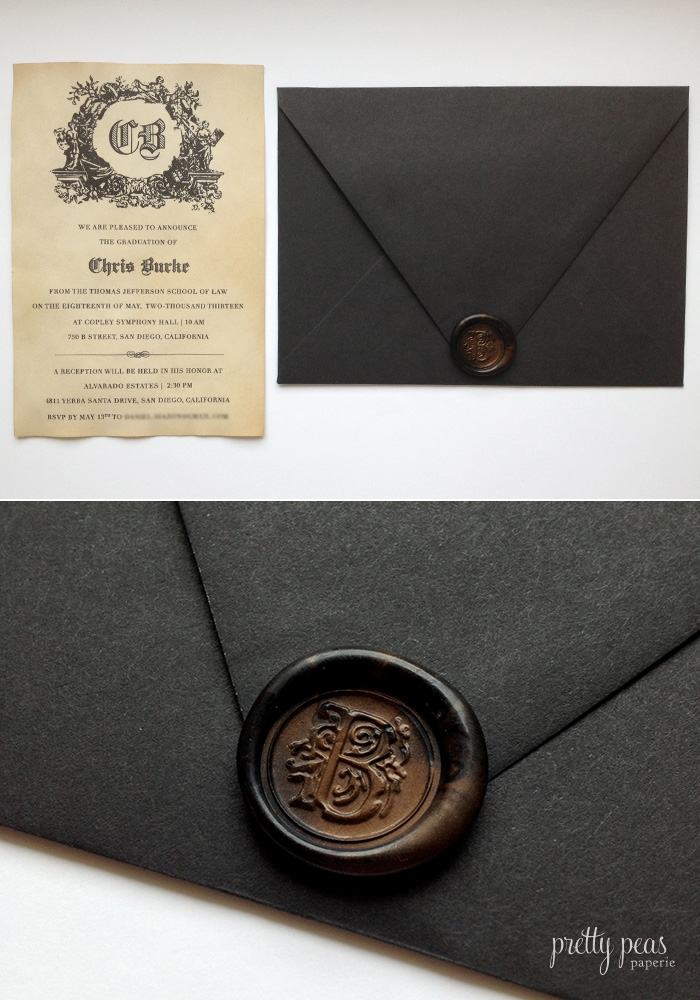 Custom graduation invitation with wax seal and tea stained paper
