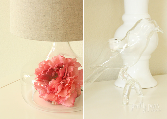 Detail // peony inside glass lamp and glass bird votive