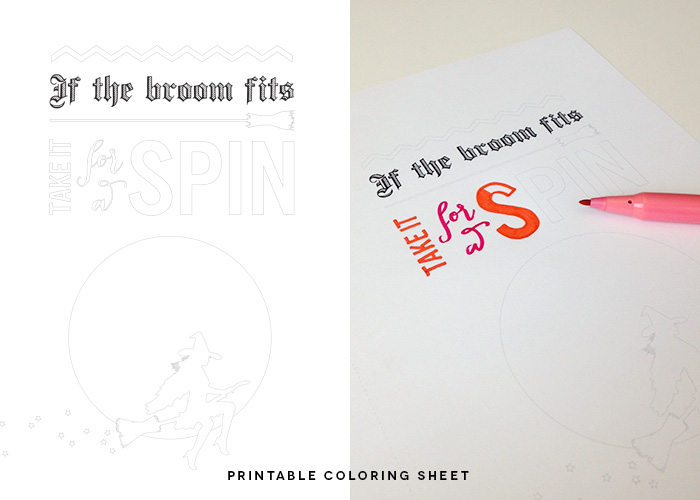 Printable Coloring Sheet for Halloween // for adults