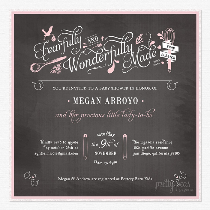 Custom Chalkboard Baby Shower Invitation by Akula Kreative / Pretty Peas Paperie