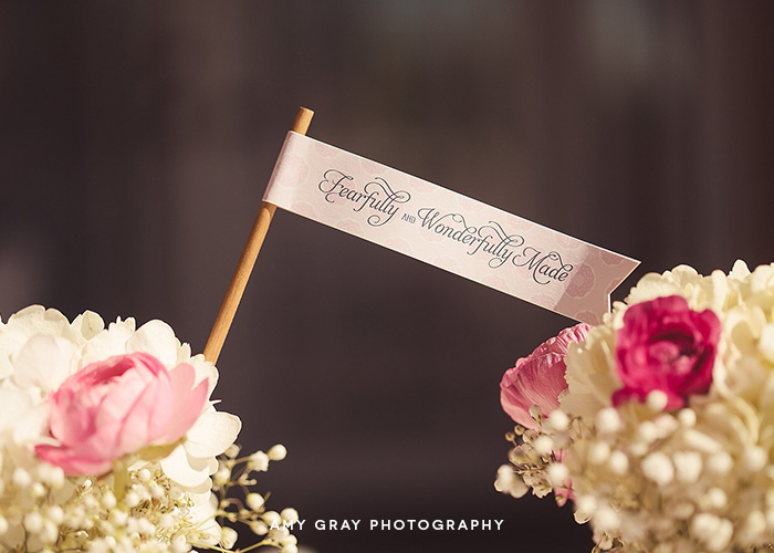 "Custom Printed Party Flags ""Fearfully and Wonderfully Made [from scratch]"" Baby Shower"