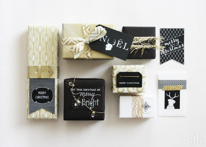 Holiday Gift Wrap Ideas in Black, White, and Gold