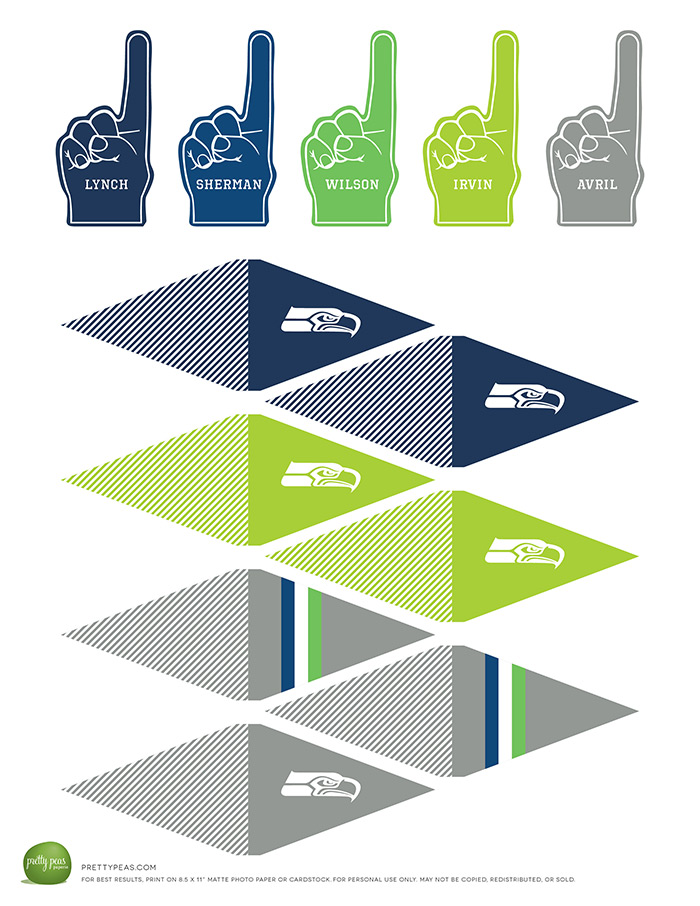 Free Printable | Seattle Seahawks Cupcake Toppers | PrettyPeas.com